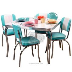 Channel Back Chairs With Square Table Set