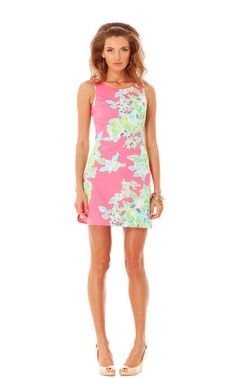 This Delia Shift Dress in Hotty Pink Pink Lemonade by Lilly Pulitzer would be perfect to wear while drinking our garden party lemonade!