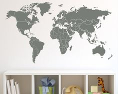 World Map with Countries Borders Wall Decal by Zapoart on Etsy, $34.00 Map to teach the kids where our missionary friends are in the world!