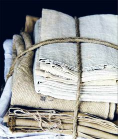 Love this stack of linens bundled together!
