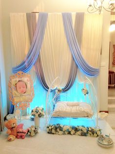Naming Ceremony Decoration, Ceremony Decorations, Cradle Decoration, Pipe And Drape Backdrop, Cradle Ceremony, Foto Baby, Baptism Ideas, Event Themes, Baby Party