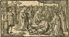 Pope Joan giving birth during a procession; the female pope surrounded by cardinals at right, the newborn child on the ground; at left the procession and a fool standing behind a column mocking the scene; illustration to an unidentified publication. 1539  Woodcut  British Museum Registration number: 1880,0710.297