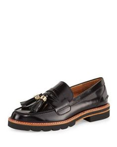 Stuart Weitzman Manila Leather Tassel Loafer, Jet Black