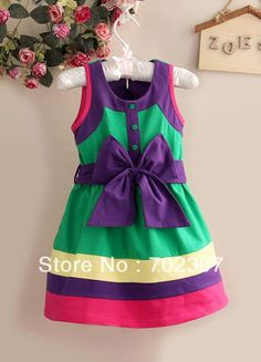2015 New design Girls summer Beautiful Green with purple Bow Dresses baby cotton dress casual clothes 6pcs/lot  CE28-in Dresses from Mother & Kids on Aliexpress.com | Alibaba Group
