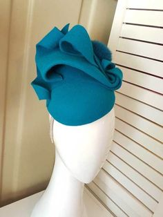 Teal fur felt headpiece