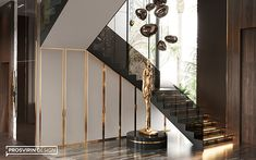 Villa in Dubai on Behance Staircase Interior Design, Luxury Staircase, Home Stairs Design, Lobby Interior, Home Room Design, Luxury Homes Interior, Home Interior Design, Villa Design, House Design
