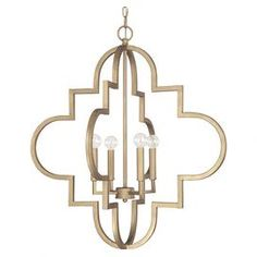 "Cast a warm glow over your entryway or dining room with this eye-catching pendant, showcasing an open quatrefoil silhouette and brushed gold finish.  Product: PendantConstruction Material: MetalColor: Brushed goldAccommodates: (4) 60 Watt bulbs - not includedDimensions: 28.25"" H x 26"" Diameter"