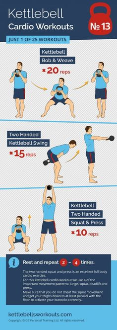 The two handed kettlebell squat and press is an excellent full body cardio exercise. For this kettlebell cardio workout we use 4 of the important movement patterns: lunge, squat, deadlift and press. Make sure that you do not cheat the squat movement and g