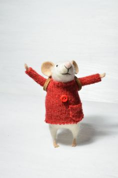 Little Traveler Mouse  unique  needle felted by feltingdreams, $68.00