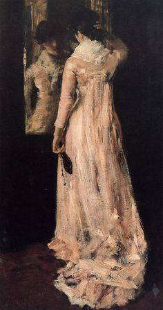 "American Impressionist artist: William Merritt Chase, ""The Mirror"", (oil on canvas, ~ {cwlyons} Figure Painting, Painting & Drawing, Mirror Painting, Mirror Mirror, Édouard Vuillard, American Impressionism, Illustration Art, Illustrations, Oeuvre D'art"