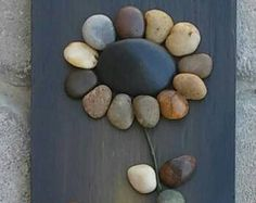 Pebble Art Rock Art Pebble Art Flowers Rock Art by CrawfordBunch