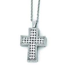 Stainless Steel Polished w/ Crystal Cross Necklace SRN1978