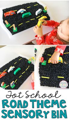 Love this transportation themed sensory bin for tot school, preschool and kindergarten classrooms!