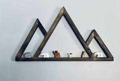 Mountain Shelf, Geometric Mountain, Old Oak Tree, Christmas Rock, Wooden Tree, Fairy Doors, Dark Stains, Wood Wall Decor, Bridal Shower Gifts