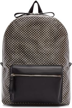 Structured coated canvas backpack in black featuring skull pattern in white and…