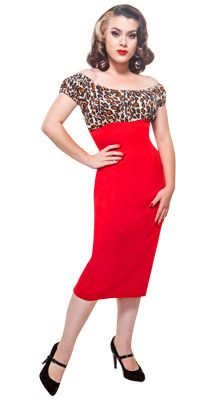 The Leopard & Lipstick Red Fancy Vamp Peasant Dress! Grab yours at www.modemerr.com!