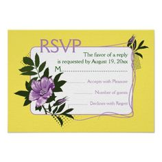 Purple wild rose yellow floral wedding RSVP card