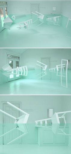 art installation / optical illusion by Kyung Woo Han titled Green House Salon de H, Seoul). it's amazing what he did with just a room, green paint, old furniture, and imagination. Instalation Art, 3d Studio, Land Art, Pics Art, Optical Illusions, Illusions Mind, Art Optical, Art Plastique, Art And Architecture
