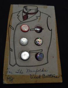 Vtg Original Card of Vest Buttons~ 6 In All