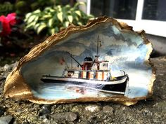 Painting by Robert Genn's father. from July 2016 letter, FAMILY BUSINESS, 'Yesterday, while disturbing one of the… Shell Painting, Painted Shells, July 1, Seascape Paintings, Family Business, Shop Signs, Lovers Art, Artworks, Father