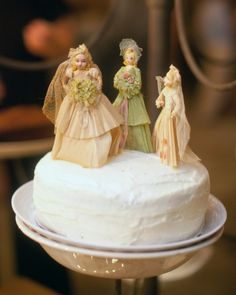 Vintage cake toppers, like these can be found in flea markets, garage sales and second hand stores