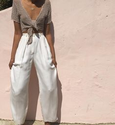 Simply beautiful vintage 100% cream silk trousers Size 2/4 $68 PANTS SOLD Oatmeal colored vintage crochet crop top S/m $35 dm to purchase TOP SOLD