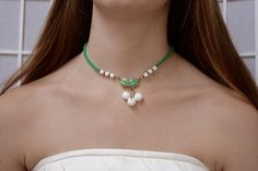 Vintage Cherry Necklace Emerald Green Enamel Flower Milk Glass bead Leaf up cycled repurposed assemblage Drop Cluster White OOAK choker by SusieKays on Etsy