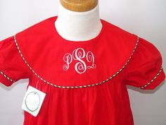 Girls Christmas dresses, Monogrammed Christmas dresses,from sz 3m up to 7y, FREE Personalization on Etsy, $39.75