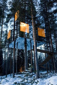 reflective treehouse  The Treehotel, tucked near the Lule River in Sweden, capitalizes on the surrounding forest with its reflective glass that shows off the great outdoors.