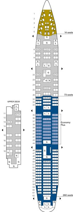 united airlines boeing 747 jet seating map aircraft chart