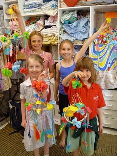 Polish hanging mobile. They used 90% recycled goodness. From straws to yarn, embroidery hoops, leftover beads to even shower curtains! Talk about creativity! These kids are all below 10.