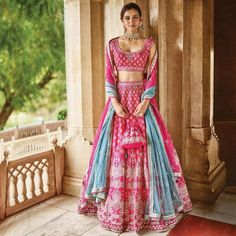 If you are bride/groom's sister, undoubtedly you have to look like a star. Definitely go for a beautiful lehenga that makes you look no less than a princess. The perfect way to do that? Adorn a pink lehenga choli with some elegant jewellery. Indian Bridal Outfits, Indian Bridal Lehenga, Indian Designer Outfits, Wedding Lehnga, Pink Bridal Lehenga, Wedding Dresses, Pink Lehenga, Lehenga Choli, Anarkali