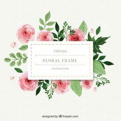pintados a mano rosas con marco de hojas