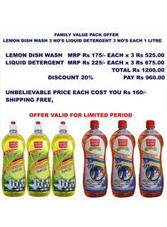 Liquid Detergent +Lemon Dish Wash 3+3 Offer