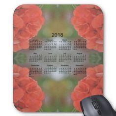 Salmon Geranium 2018 Calendar Mouse Pad $12.35