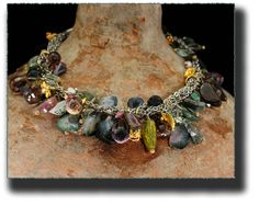 """""""Natures Endless Gifts"""", The amazing variety of Watermelon Tourmaline suggest to me the bounty of the Earth that provides for us in colorful fruits, vegetables, flowers, rivers, oceans and plants. Sterling Silver, Watermelon Tourmaline, Geodes, Pearls, Amethyst, 24K Gold Vermeil by Allison Bellows ..."""