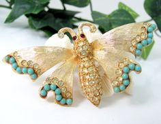 RHINESTONE BUTTERFLY Pin Figural 1961 Faux Turquoise Brooch