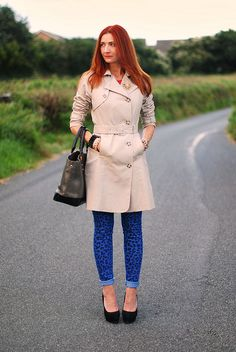 Trench coat & electric blue leopard skinnies by Not Dressed As Lamb