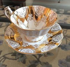 Vintage Queen Anne Heavy Gold Lace on White Bone China Teacup & Saucer - Vintage English China Tea Cup - England