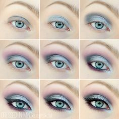 step 1 - (Color Tattoo Permanent taupe) step 2 - (Sleek Sparkle2) step 3 - (Sleek Sparkle2). step 4 - (Sleek Bad Girl). step 5 - (Sleek Sparkle2) (MUG Cupcake). step 6 - (Sleek Bad Girl). step 7 - (gel liner Maybelline).