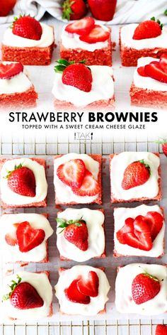 Strawberry Brownies are a thick, chewy bar cookie, positively bursting with strawberry flavor thanks to one very special secret ingredient! Rest assured, these beautiful dessert bars are still easy to make and totally worth the extra 5 minutes. Top them off with a sweet and tangy cream cheese glaze and sliced strawberries for a delicious dessert perfect for wooing your Valentine or serving at any springtime event! Brownies With Strawberries, Strawberry Brownies, Freeze Dried Strawberries, Strawberries And Cream, Strawberry Butter, Strawberry Sorbet, Delicious Desserts, Dessert Recipes, Yummy Food