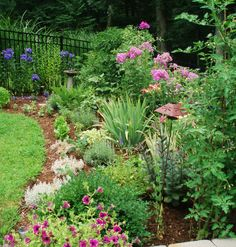gardening along a fence line | border garden that blends blooming perennials, herbs and vegetables ...