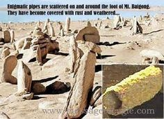 """Who brought the pipes to Mount Baigong and when? Many ancient legends relate that monsters once lived in central Asia thousands of years ago. Those monsters could fly. The shamans who enter into trance, are believed to come in contact with """"lords of creation, who have the faces of tigers and are borne through the air by birds of fire"""".    Read more: http://www.messagetoeagle.com/coverupetartifacts.php#ixzz3G9b9IeNi"""