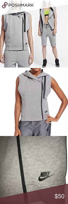 Nike Tech Fleece Gray Ninja Athletic Vest Hooded New Without Tags - Nike Tech Fleece athletic work-out Sleeveless vest - Diagonal zipper up front - Oversized hood - Heather gray - Size large Nike Jackets & Coats Vests
