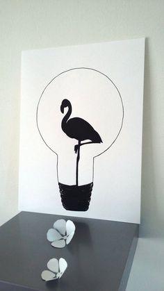 """Affiche Illustration Noir et blanc ampoule """" flamant rose """" : Affiches, illustrations, posters par stefe-reve-en-feutrine"""