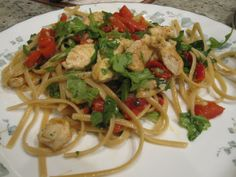 Whole Wheat Linguine with Roasted Red Peppers and Arugula