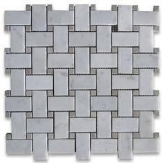 Carrara White Italian Carrera Marble Basketweave Mosaic Tile Gray Dots 1 x 2 Polished