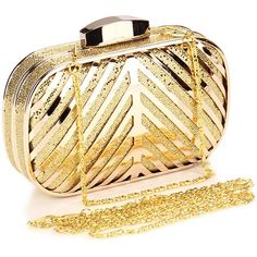 Chicnova Fashion Metallic Box Clutch ($18) ❤ liked on Polyvore featuring bags, handbags, clutches, hard clutch, box clutch, beige purse, chain strap handbag and metallic purse