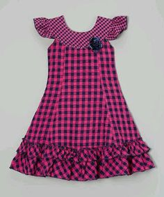 Standing out with bright gingham fabric and fluttery ruffles, this retro-inspired beauty is made in lightweight cotton for a comfy, breathable feel. Dainty angel sleeves and a rhinestone-topped rosette put the final fanciful touches on this darling dress. Little Girl Fashion, Toddler Fashion, Kids Fashion, Fashion Top, Frocks For Girls, Kids Frocks, Little Girl Dresses, Girls Dresses, Toddler Girl Dresses