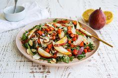 Pear and Roasted Kūmara Salad Kumara Salad, Pear Recipes, Salad Ingredients, Pasta Salad, Mustard, Roast, Fruit, Cooking, Ethnic Recipes